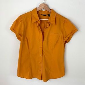New York & Co Gold Short Sleeve Button Down Shirt